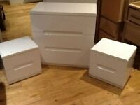 Almost new white chest of drawers and bedside tables high gloss finish