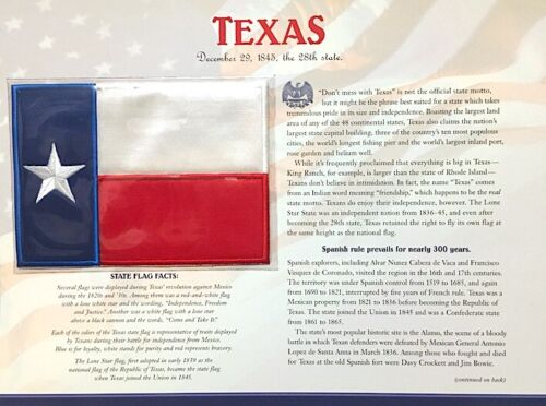 TEXAS ~ Willabee & Ward STATE FLAG PATCH INFO CARD ~ United States Collection