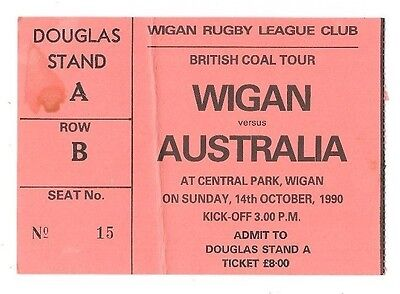 1990  - Wigan v Australia, Touring Match Ticket.