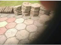 Hexagon garden slabs