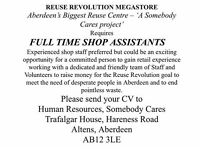 Somebody Cares SCIO - Shop Assistants Wanted