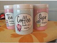 Ceramic Dunelm Kitchen set: Tea, Coffee, Sugar and Biscuit