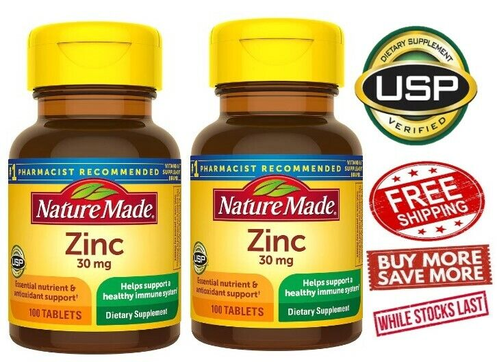 Nature Made Vitamin Zinc 30 Mg Lot Of 2 (Total 200 Tablets) Ex 09/24