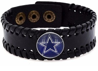 Dallas Cowboys Mens Womens Black Leather Bracelet Bangle Football Gift D8-1](Cowboy Gifts)