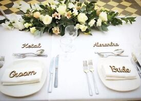 Personalised Wedding items - dress hangers & table names, bride