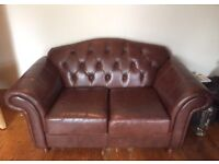**PRICE REDUCED** URGENT Brown real leather Chesterfield style sofa