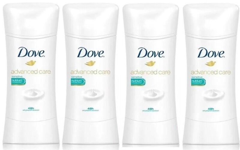 4 Dove Advanced Care Sensitive Skin Antiperspirant Deodorant Unscented