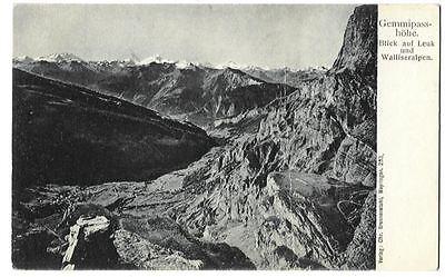 AK Gemmipasshöhe - Blick auf Leuk   (um 1910)