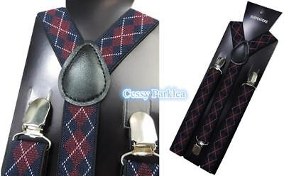 1920's Gangster Braces Scottish Style Adjustable Unisex Pants Suspenders Check](1920s Mobster Fashion)