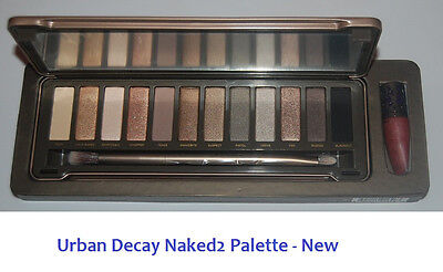 Urban Decay Naked 2 Palette with Eyeshadow Brush & Lip Gloss Naked2 - New on Rummage
