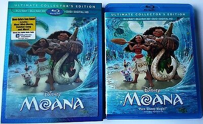 Disney Moana Blu Ray 3D 1 Disc Set With Lenticular Slipcover Free World Shipping