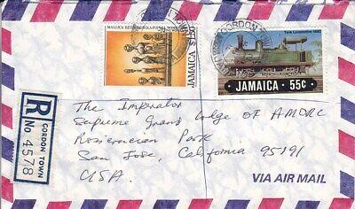 1985 Jamaica #584, #590 on Gordon Town Reg Cover to US;art, train, railroad topi *d