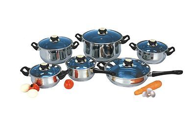 12 Piece Pots And Pans Set Stainless Steel Cookware Kitchen Dining Gear Blue NEW