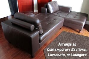 PAIR OF GENUINE LEATHER COUCHES