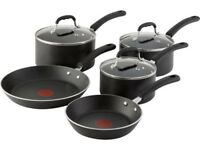 Tefal Non Stick Aluminium 5 Piece Induction Pan Set Kitchen Cookware Glass Lids