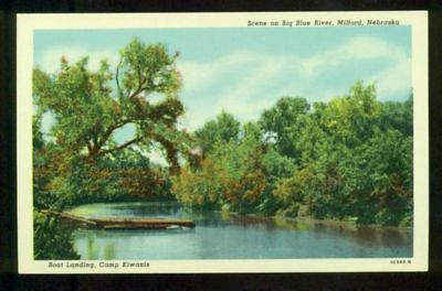 Big Blue River  Boat Landing Camp Kiwanis MILFORD NEBRASKA Vintage Postcard