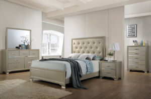 Queen Size Hardwood Platform Bed with Upholstered Headboard