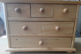 Solid pine miniature chest of drawers