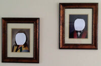 2 WOODEN FRAMES WITH GLASS AND MATTE