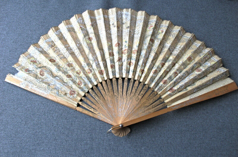 Antique flowers & leaves paper wooden Bissell Cyco carpet sweeper adv hand fan