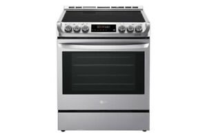 """30"""" SS electric smooth top slide in Stove LG LSE4611ST $1399! as"""