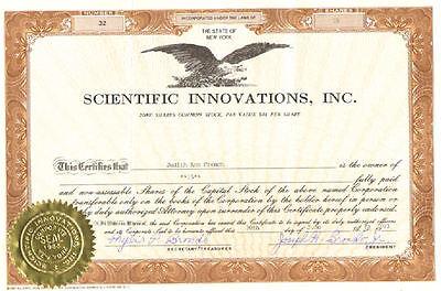 Scientific Innovations Inc > 1993 New York stock certificate