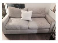 Habitat Two/Three Seater Sofa in Light Grey Woven Fabric (feather filled)