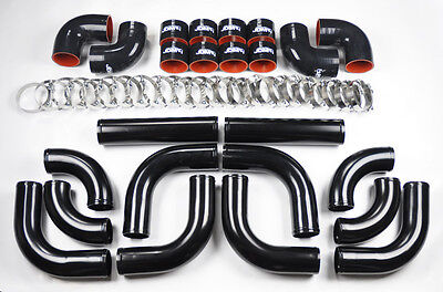 Universal High Quality 25 ALL Black Intercooler 12pc Piping Kit Aluminum