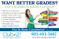 In-Home Tutoring - Math, Chemistry, Physics, French, English