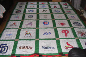 Hand Painted MLB Logo Quilt