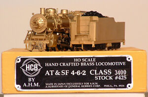 AT&SF 4-6-2,  Brass model train in HO scale made in Japan