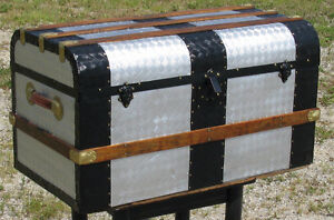 Antique Dome Top Steamer Trunk. Very unique. Completely Restored