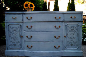 French inspired large gray- blue dresser/sideboard!- Refinished
