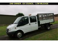 2013 13 FORD TRANSIT 2.2 350 CREW CAB TIPPER DRW 100 BHP - 26,807 MILES DIESEL