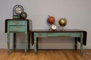 Patina and copper coffee and end tables
