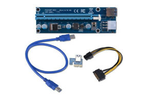 NEW / Set of 4 PCIe 1x To 16x PCI Powered Riser Adapter Card