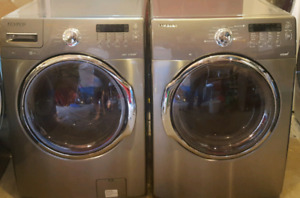 Stainless steel Samsung steam washer and dryer