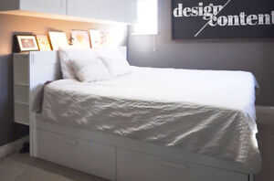 BRIMNES King Size Bed, Headboard, and Mattress