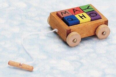 Dollhouse Miniature Toy, Wagon with Blocks #T8469