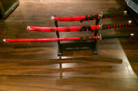Samurai swords black and red set of 3