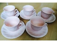 Pink Alice in Wonderland Tea Cups and Saucers
