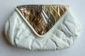 Genuine white and gold leather handbag from New York