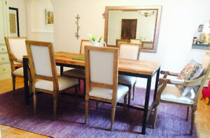 Reclaimed Wood Oak Dining table set of 8 chairs