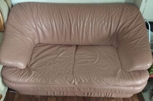 Pink Faux Leather Loveseat - delivery available
