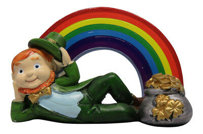 Leprechaun Rainbow Pot of Gold Figurine St. Patrick's Day Irish Celtic Wishes - Rainbow Pot Of Gold