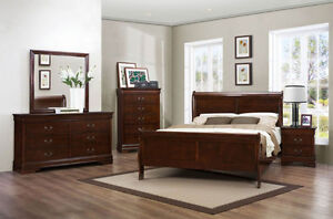 NEW ★ 5 Pcs Bedroom Set ★ Dark Cherry / White ★ Can Deliver