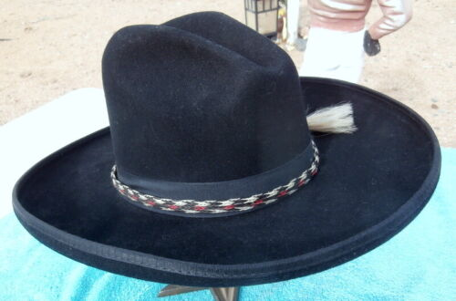 Rolled Brim Black Cowboy Hat Sz.  7-1/8 in. Horsehair Band