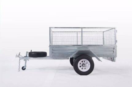 SALE! Fully Hot Dipped Galvanized 7x5 Box Trailer with Mesh Cage Meadowbrook Logan Area Preview