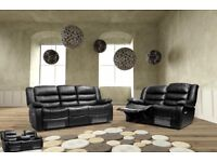 New Black Leather 3 2 Recliner Sofa Couch Settee