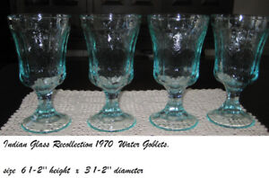 VINTAGE  TEAL  GOBLETS SET -RECOLLECTION